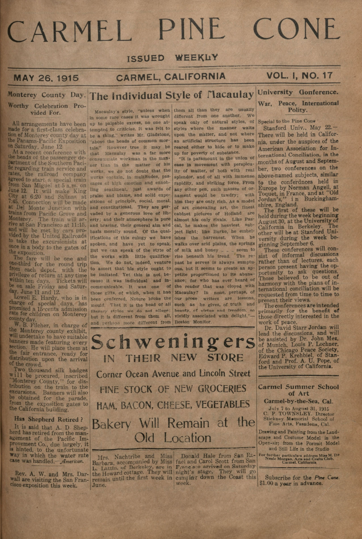 Front page of the May                 26, 1915, Carmel Pine Cone