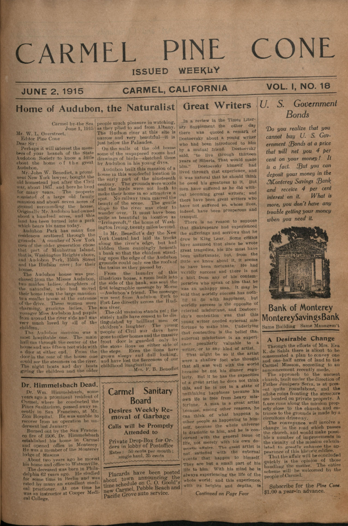 Front page of the                 June 2, 1915, Carmel Pine Cone
