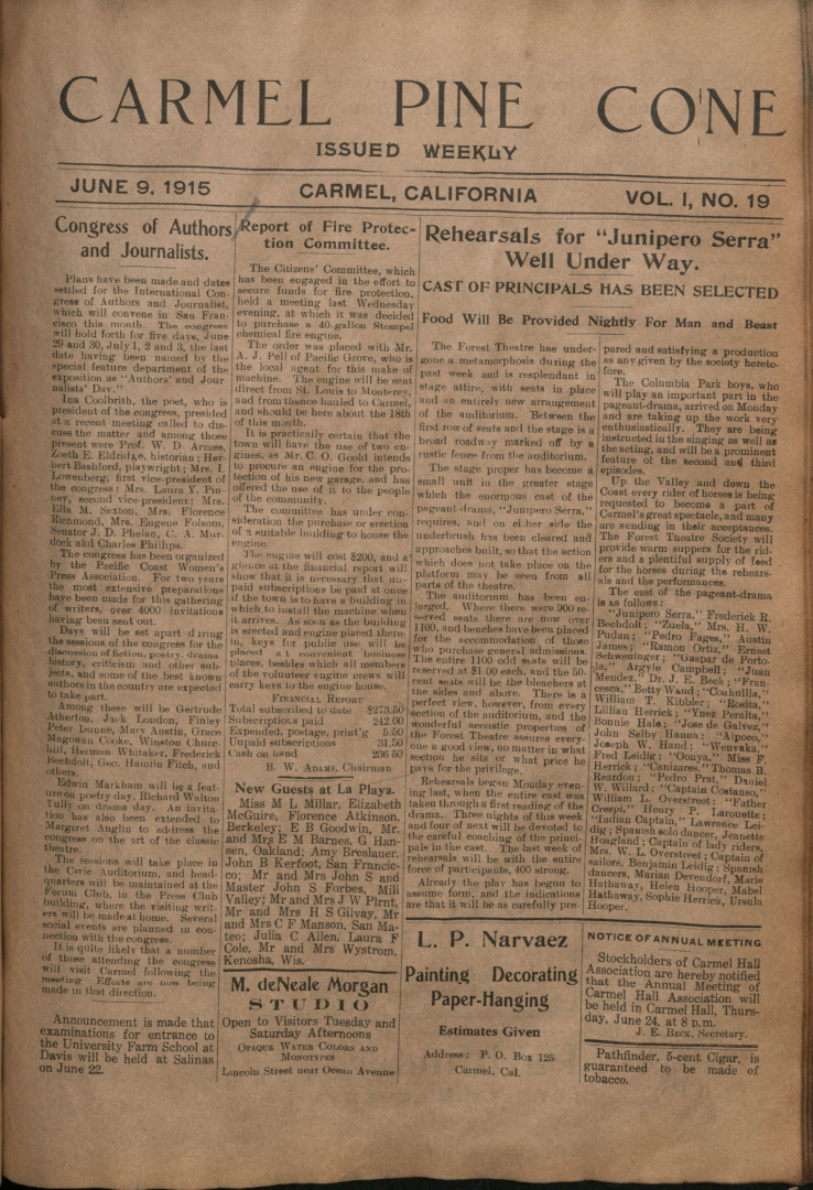 Front page of the                 June 9, 1915, Carmel Pine Cone