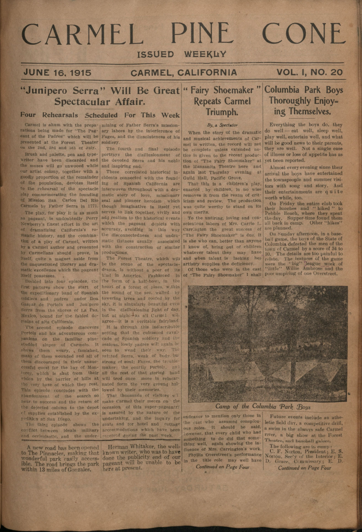 Front page of the                 June 16, 1915, Carmel Pine Cone