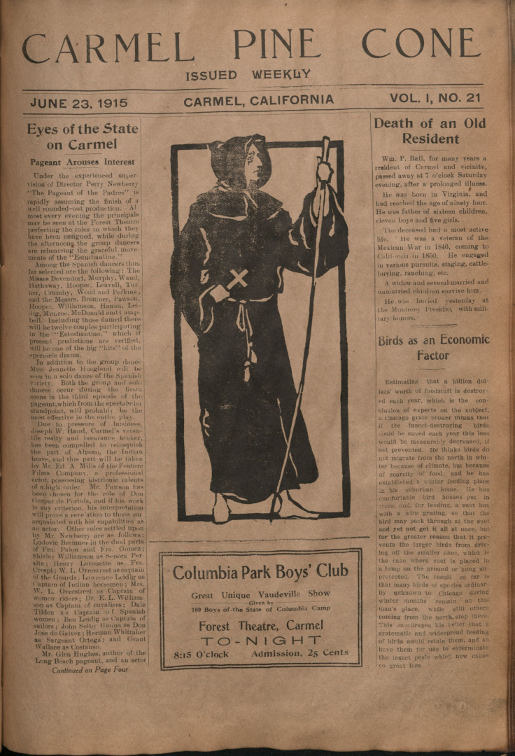 Front page of the                 June 23, 1915, Carmel Pine Cone