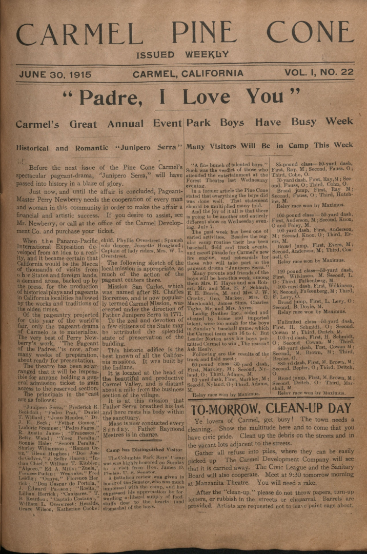 Front page of the                 June 30, 1915, Carmel Pine Cone
