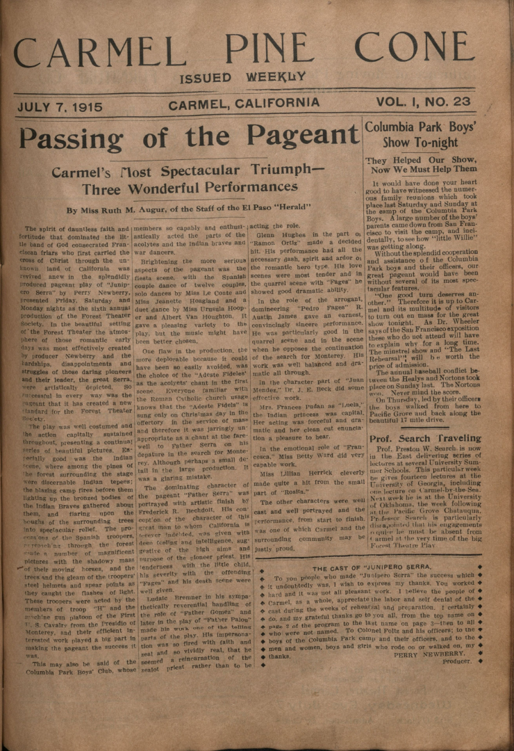 Front page of the                 July 7, 1915, Carmel Pine Cone