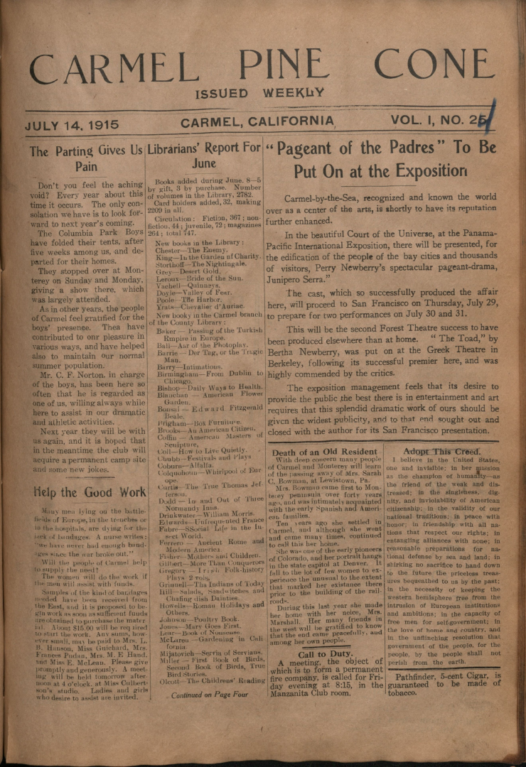 Front page of the                 July 14, 1915, Carmel Pine Cone