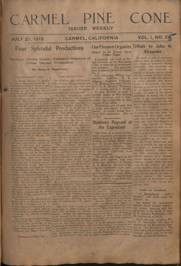 Front page of the                 July 21, 1915, Carmel Pine Cone