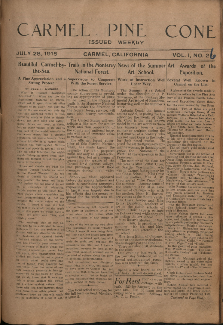 Front page of the                 July 28, 1915, Carmel Pine Cone