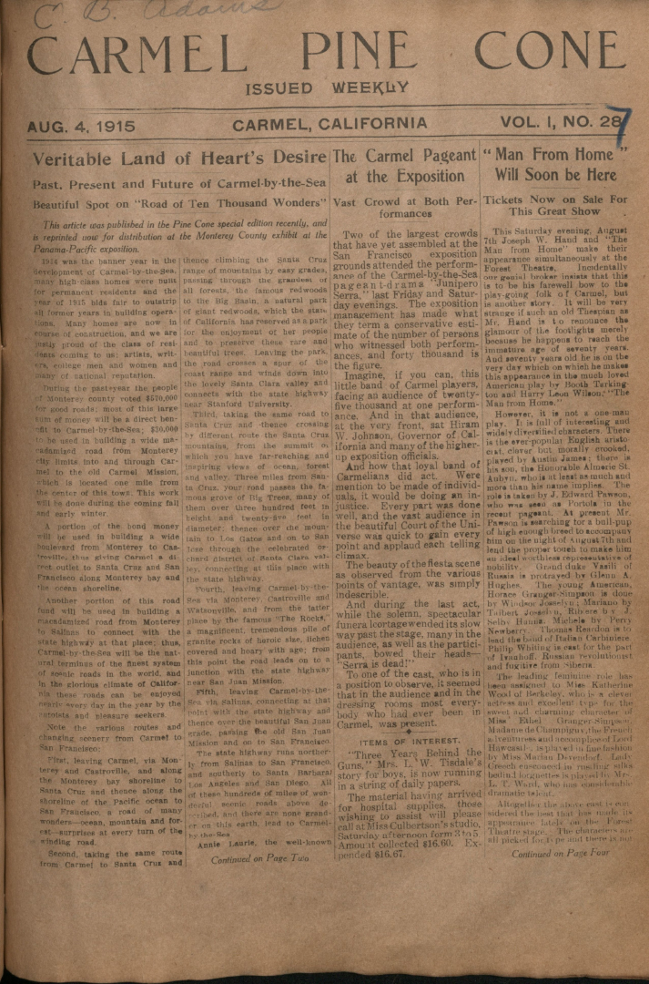 Front page of the                 August 4, 1915, Carmel Pine Cone