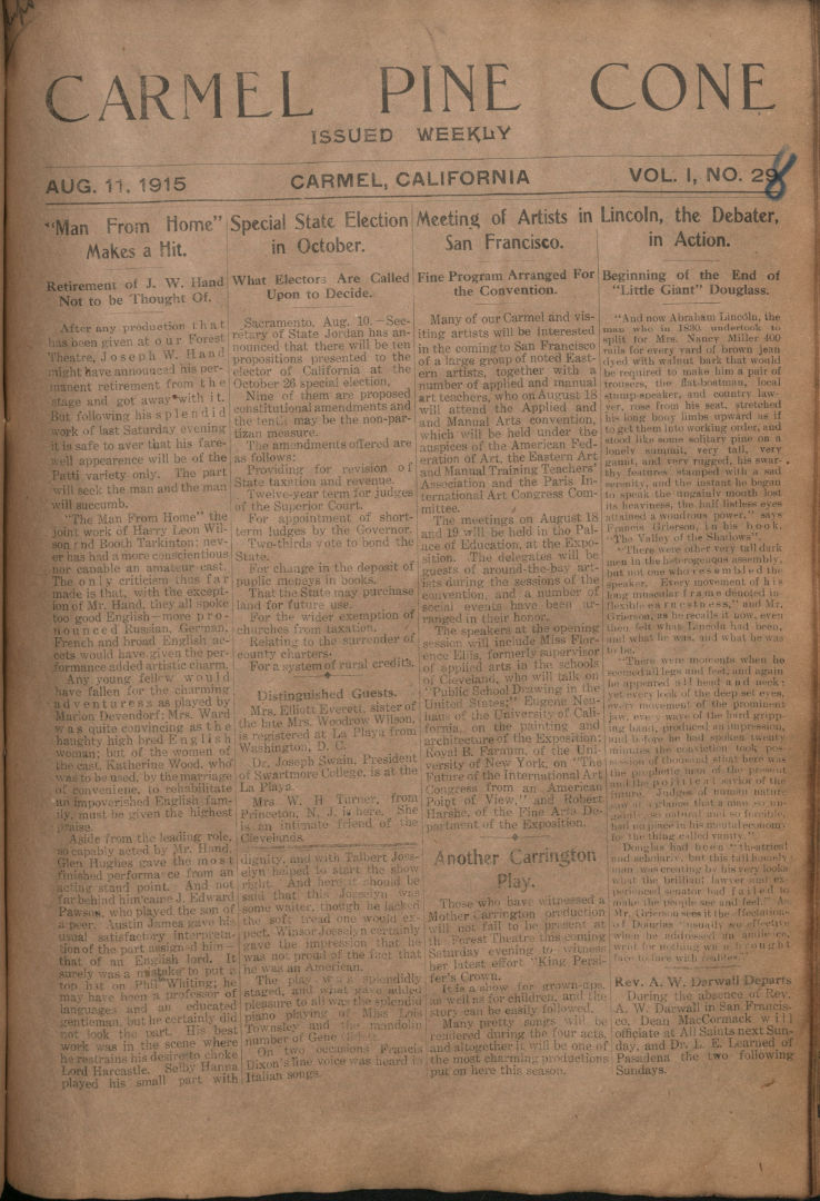 Front page of the                 August 11, 1915, Carmel Pine Cone