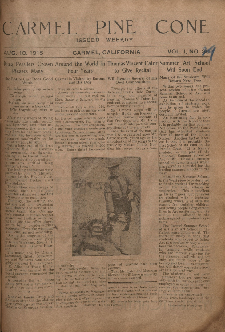 Front page of the                 August 18, 1915, Carmel Pine Cone