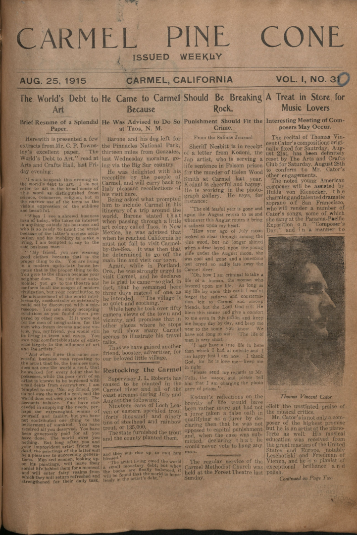 Front page of the                 August 25, 1915, Carmel Pine Cone