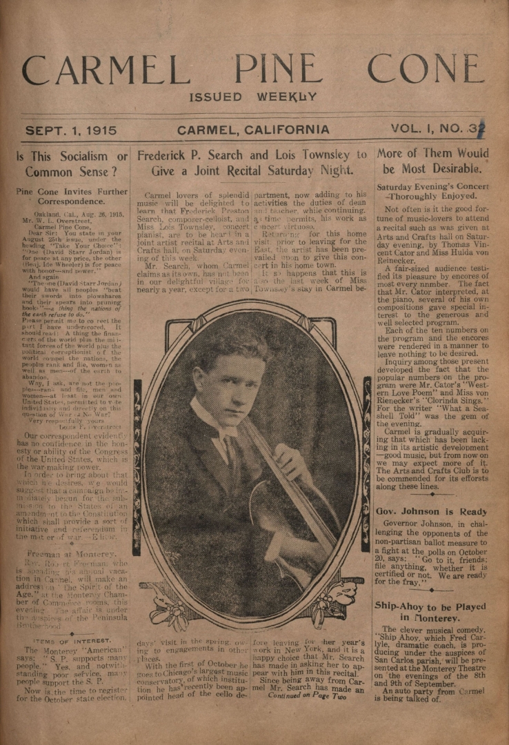 Front page of the                 September 1, 1915, Carmel Pine Cone