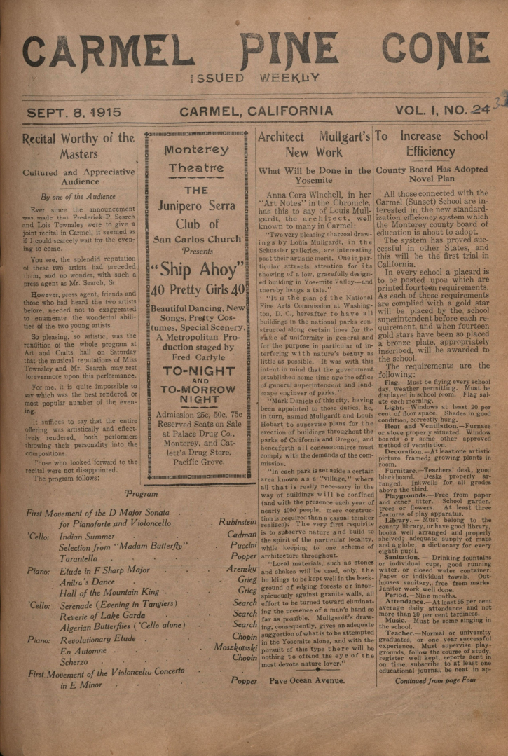 Front page of the                 September 8, 1915, Carmel Pine Cone