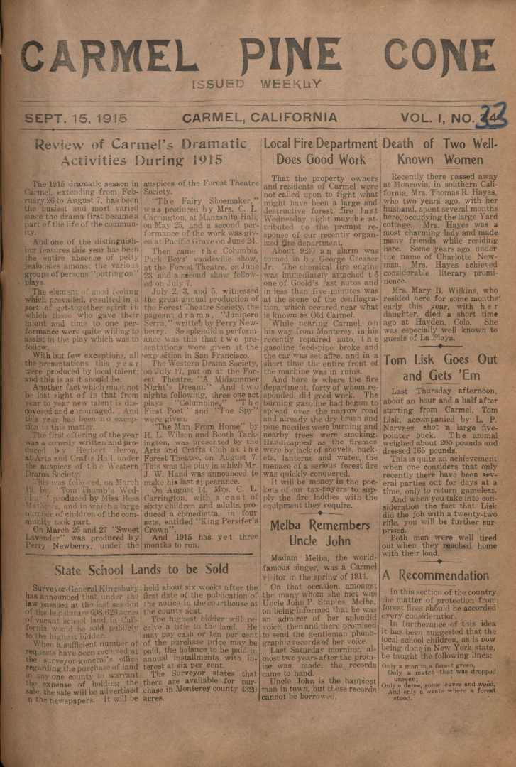 Front page of the                 September 15, 1915, Carmel Pine Cone