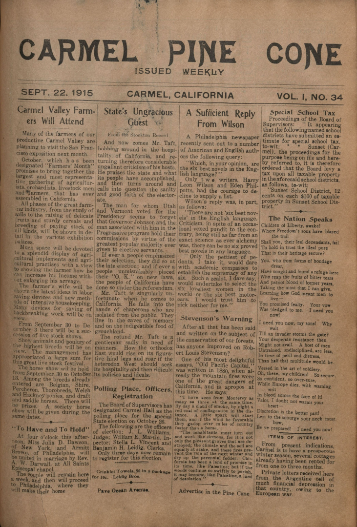 Front page of the                 September 22, 1915, Carmel Pine Cone