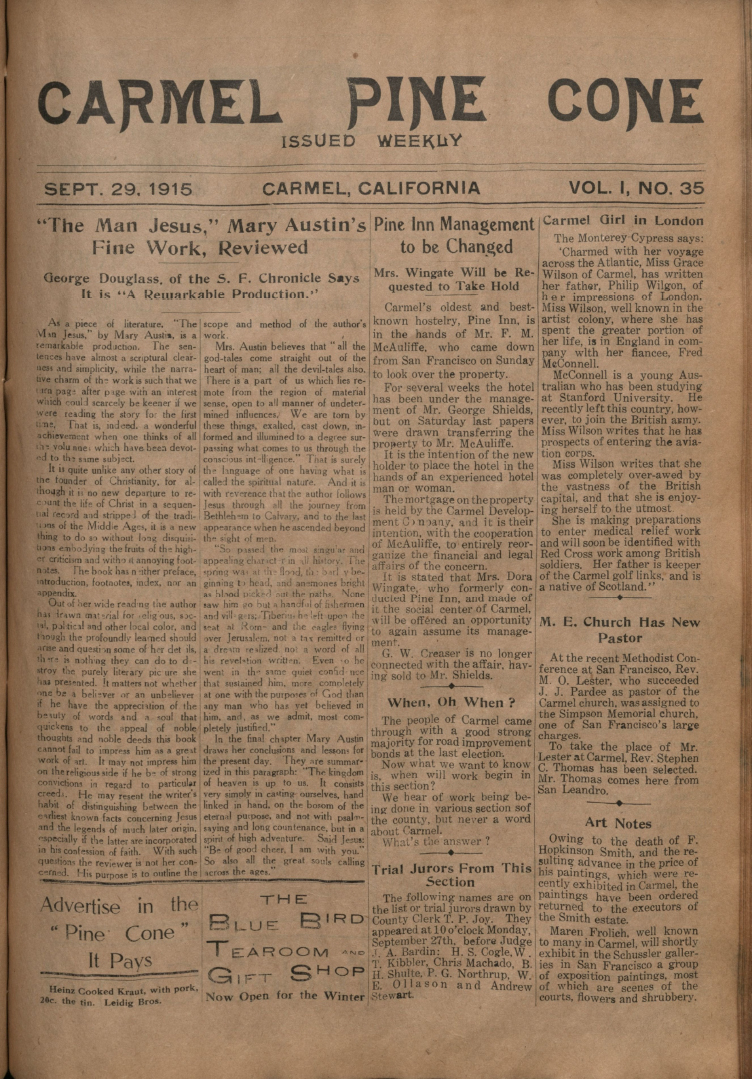 Front page of the                 September 29, 1915, Carmel Pine Cone