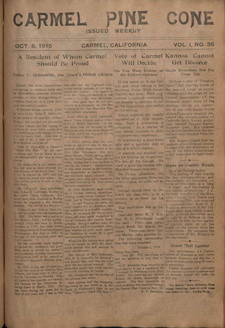 Front page of the                 October 6, 1915, Carmel Pine Cone