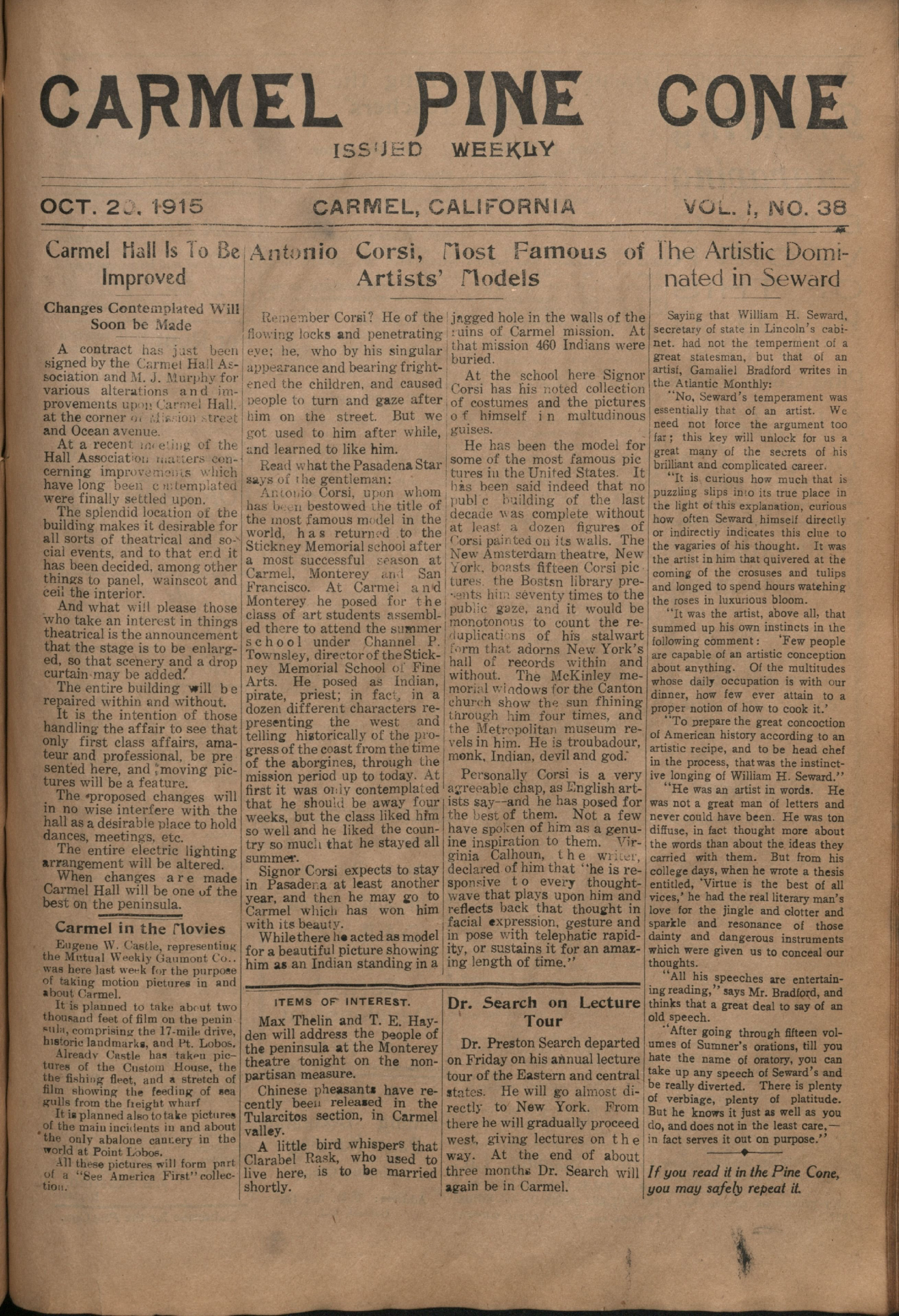 Front page of the                 October 20, 1915, Carmel Pine Cone