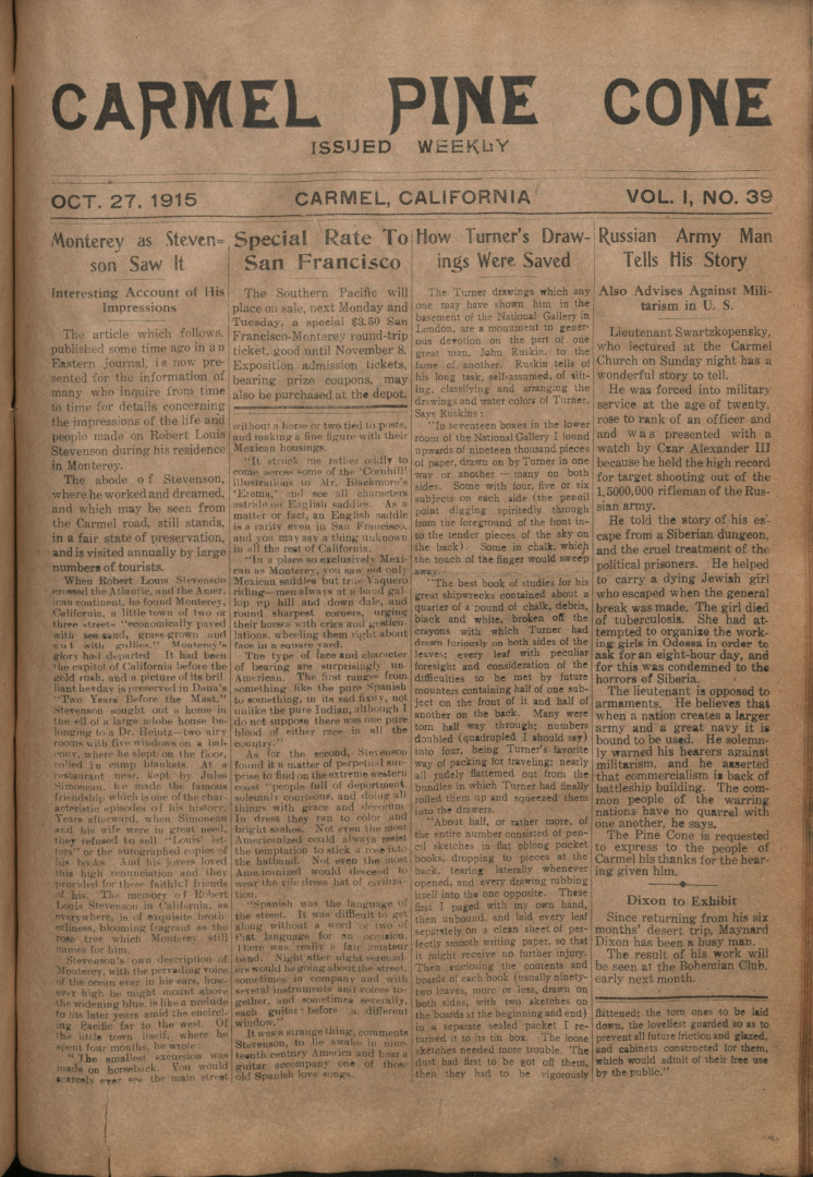 Front page of the                 October 27, 1915, Carmel Pine Cone