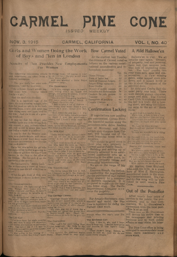 Front page of the                 November 3, 1915, Carmel Pine Cone