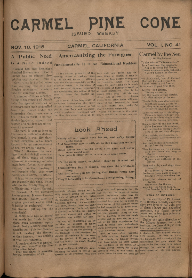 Front page of the                 November 10, 1915, Carmel Pine Cone