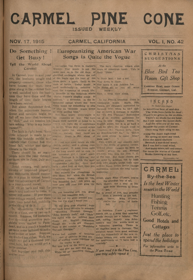 Front page of the                 November 17, 1915, Carmel Pine Cone