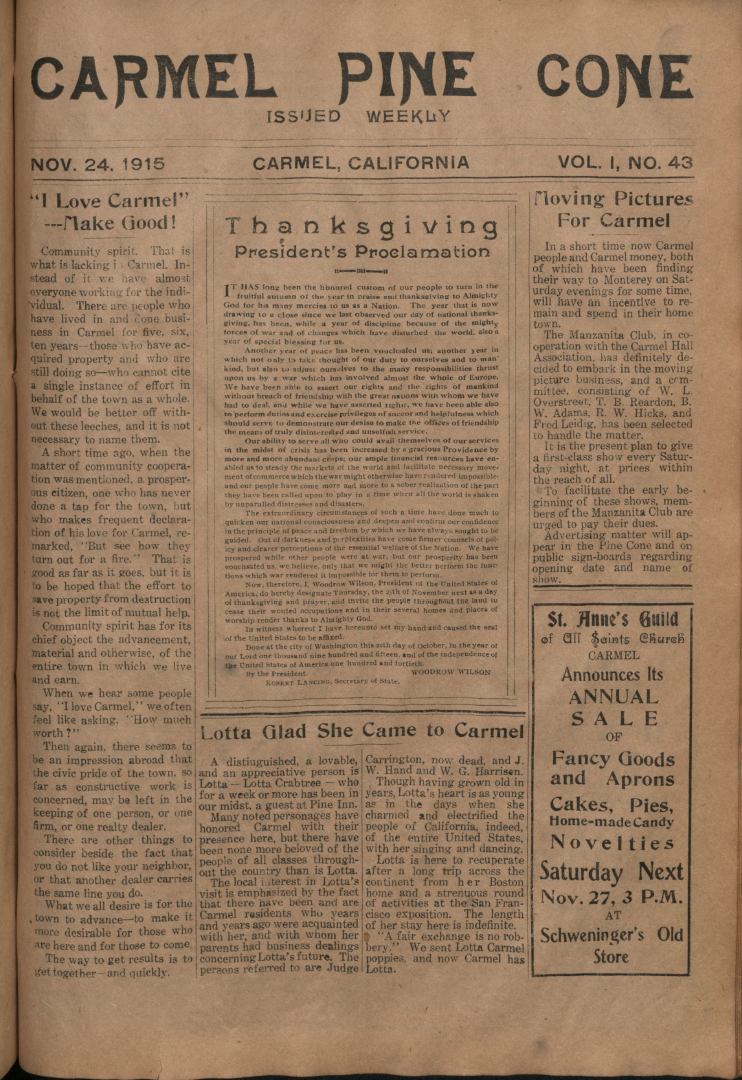 Front page of the                 November 24, 1915, Carmel Pine Cone