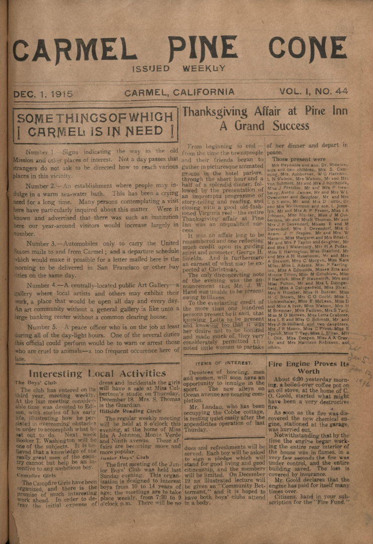 Front page of the                 December 1, 1915, Carmel Pine Cone