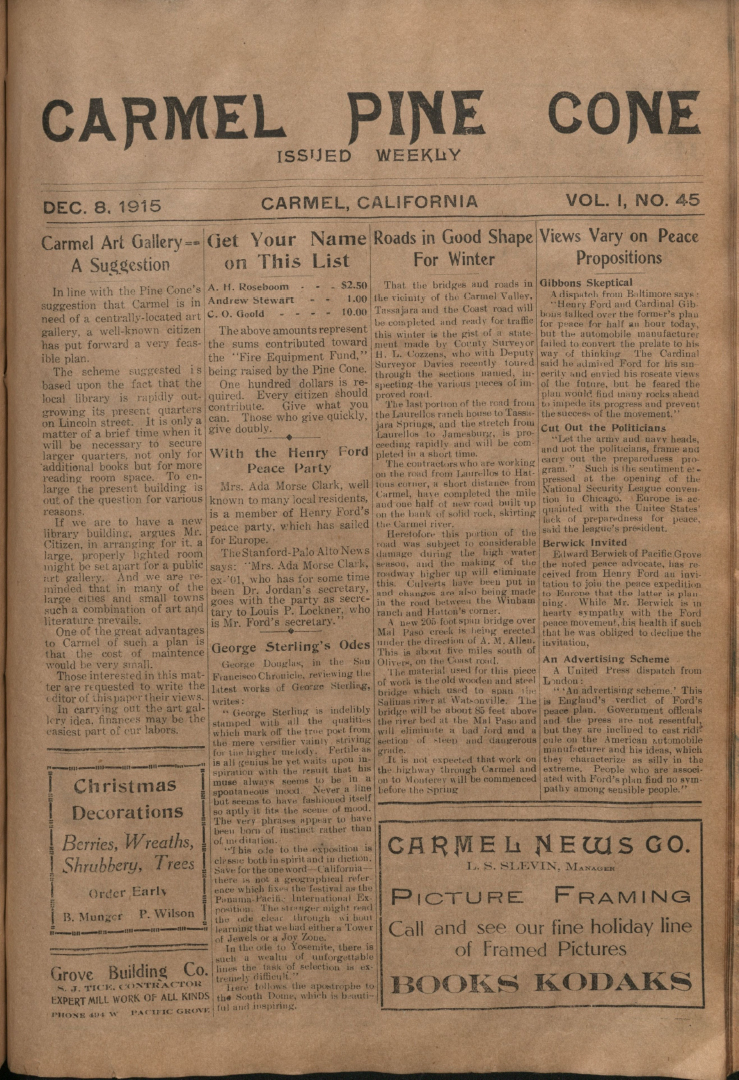 Front page of the                 December 8, 1915, Carmel Pine Cone