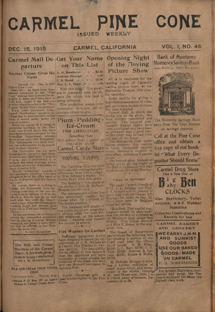 Front page of the                 December 15, 1915, Carmel Pine Cone