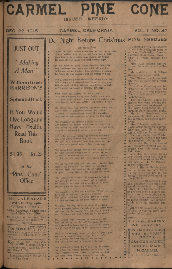 Front page of the                 December 22, 1915, Carmel Pine Cone