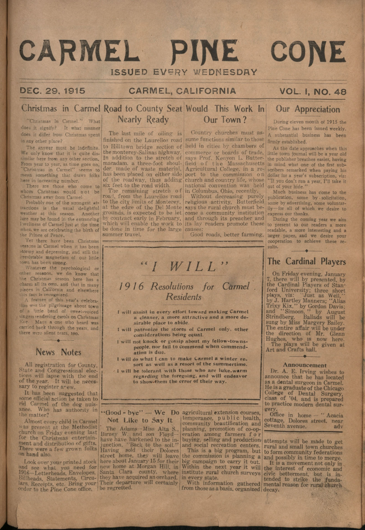 Front page of the                 December 29, 1915, Carmel Pine Cone
