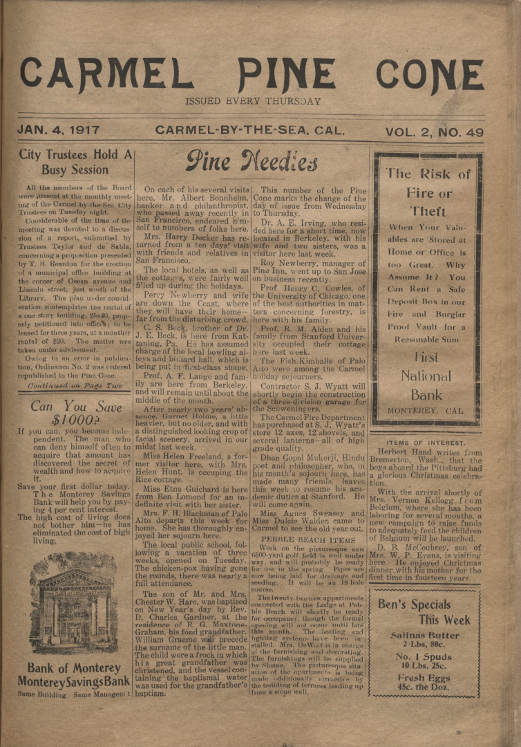 front page of the                 January 4, 1917, Carmel Pine Cone