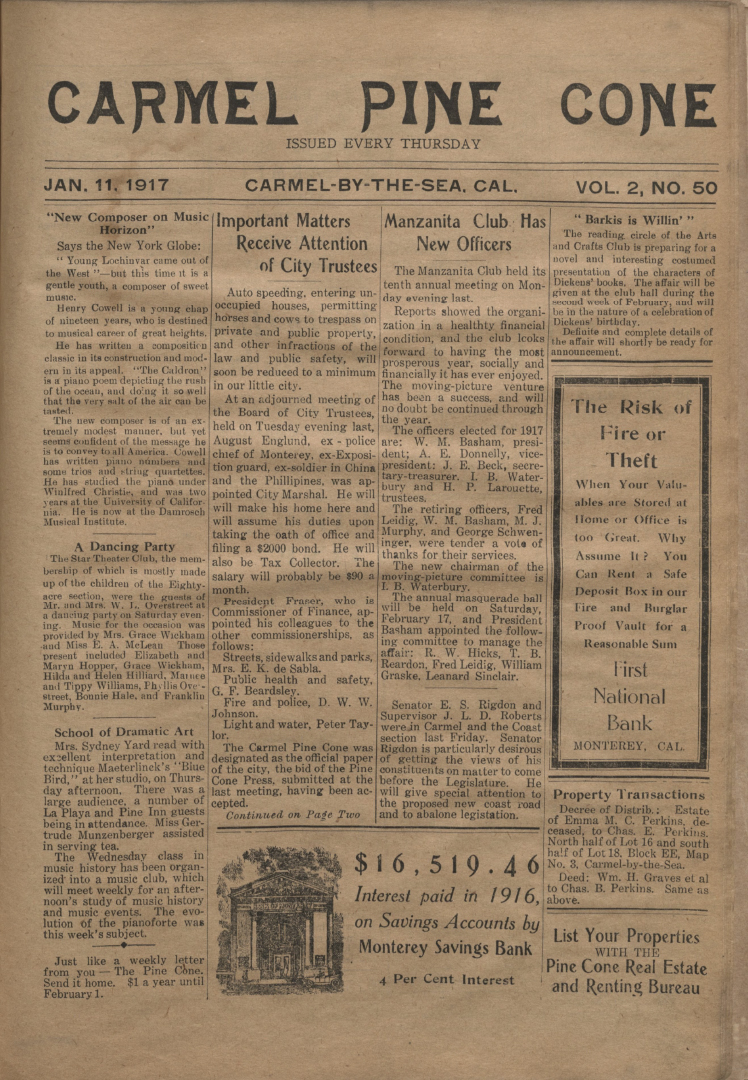front page of the                 January 11, 1917, Carmel Pine Cone