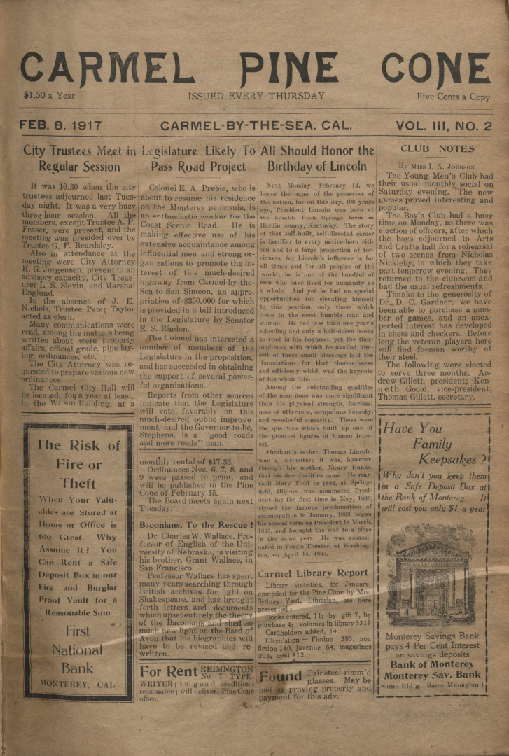 front page of the                 February 8, 1917, Carmel Pine Cone