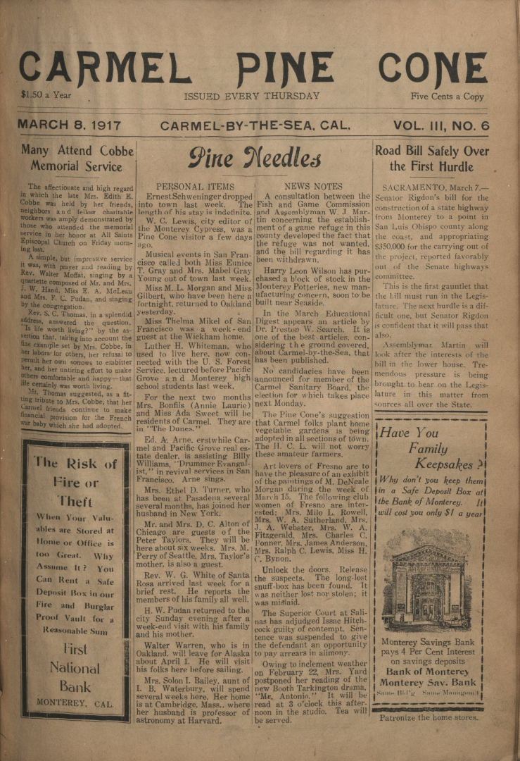 front page of the                 March 8, 1917, Carmel Pine Cone