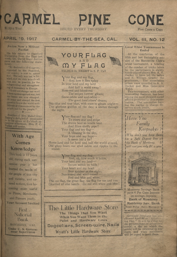 front page of the                 April 19, 1917, Carmel Pine Cone