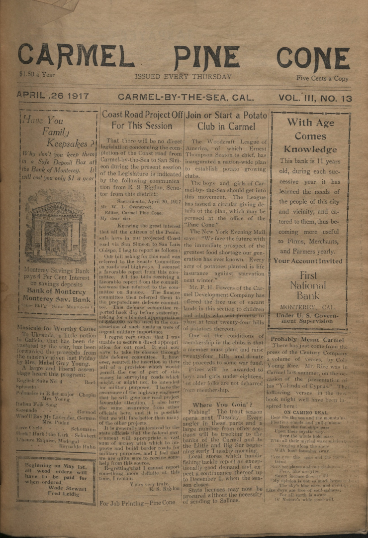 front page of the                 April 26, 1917, Carmel Pine Cone