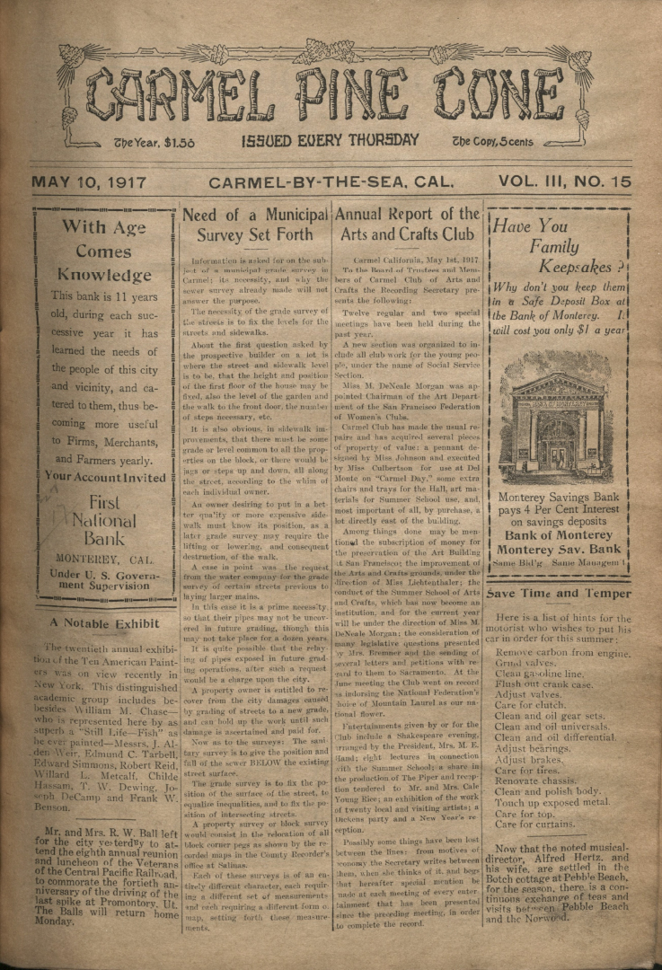 front page of the May                 10, 1917, Carmel Pine Cone
