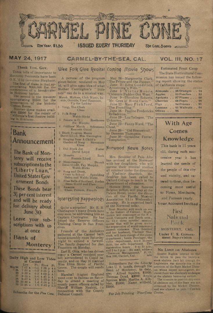front page of the May                 24, 1917, Carmel Pine Cone