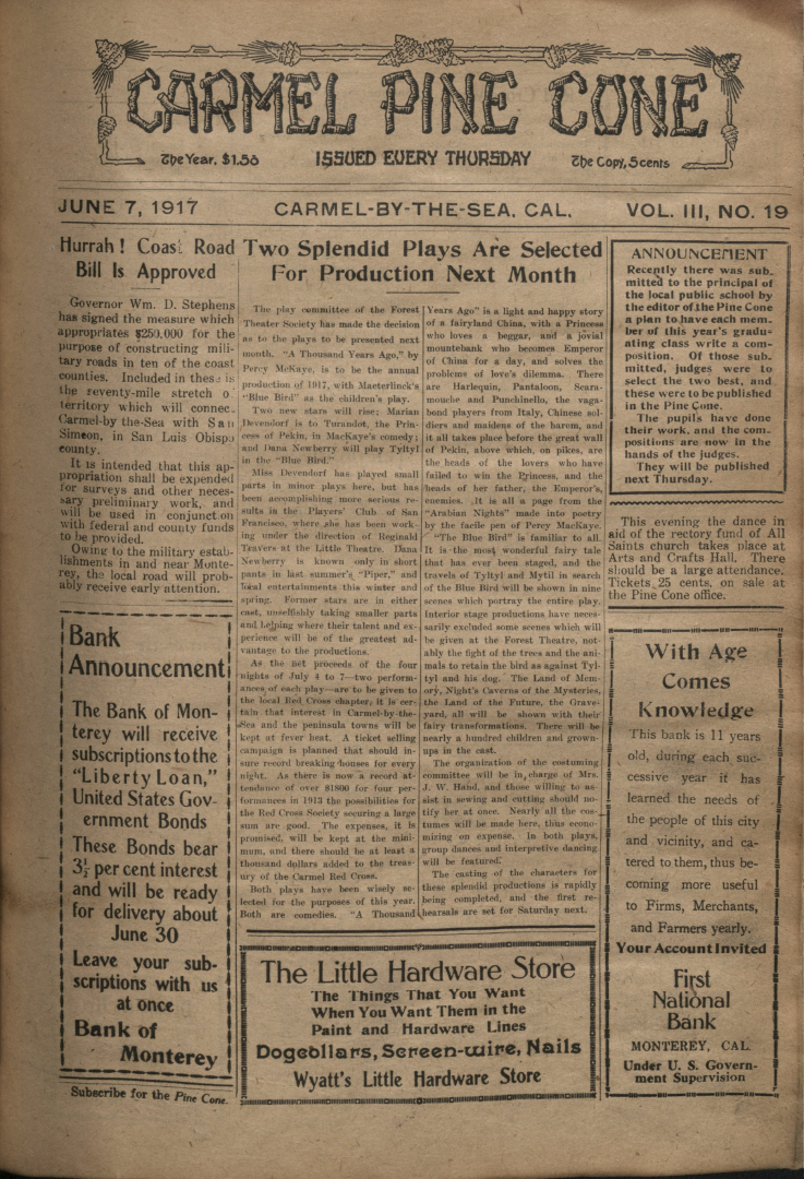Front page of the                 June 7, 1917, Carmel Pine Cone