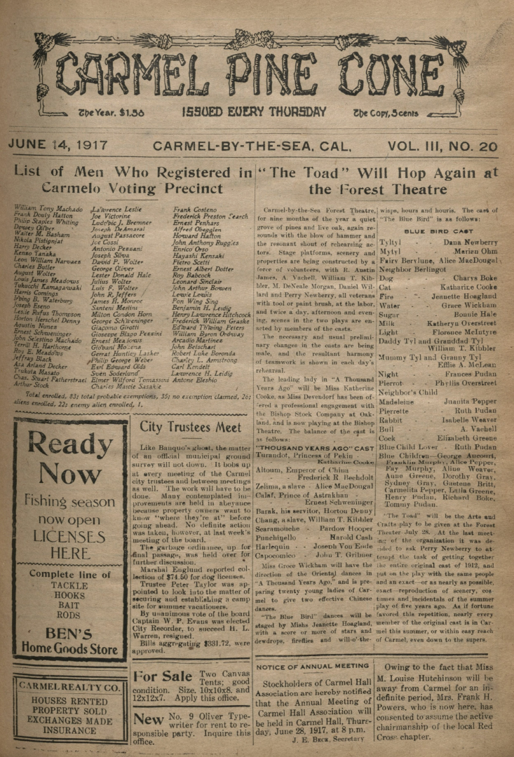 Front page of the                 June 14, 1917, Carmel Pine Cone