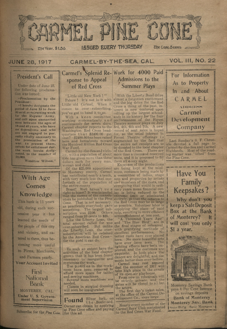 Front page of the                 June 28, 1917, Carmel Pine Cone
