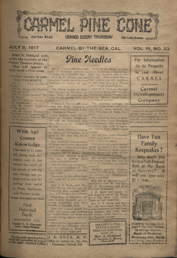 front page of the                 July 5, 1917, Carmel Pine Cone