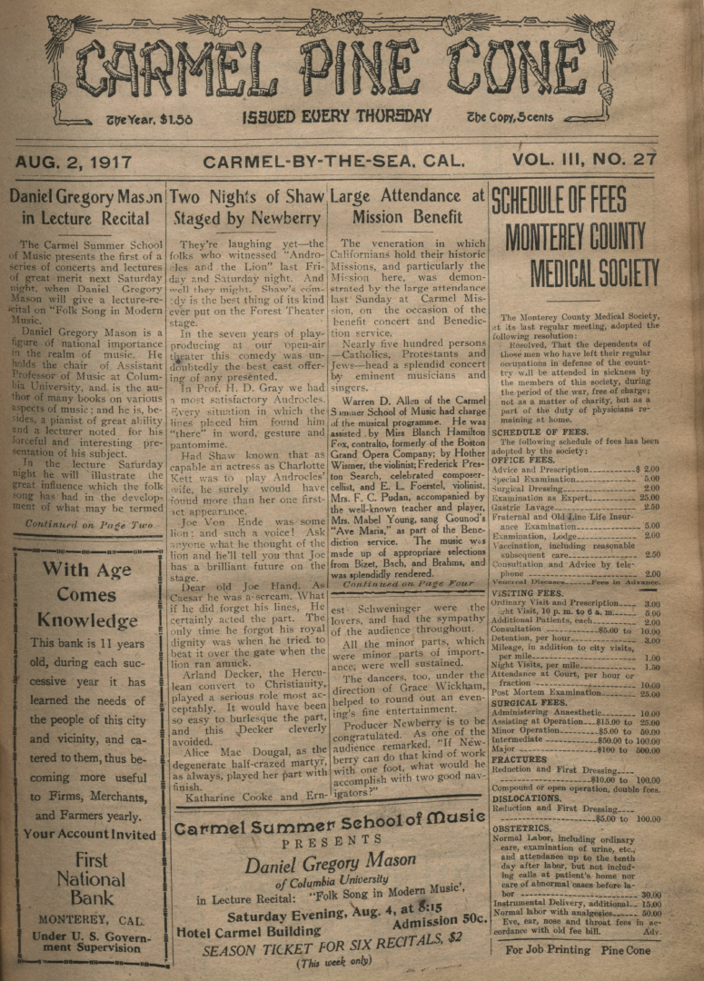 front page of the                 August 2, 1917, Carmel Pine Cone