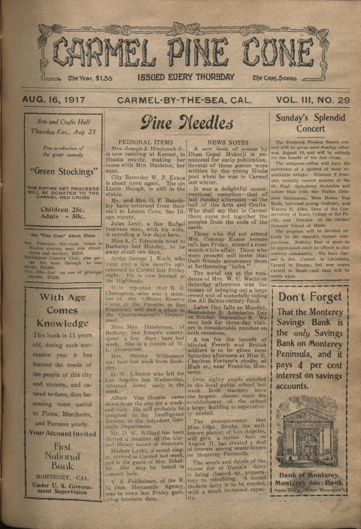 front page of the                 August 16, 1917, Carmel Pine Cone