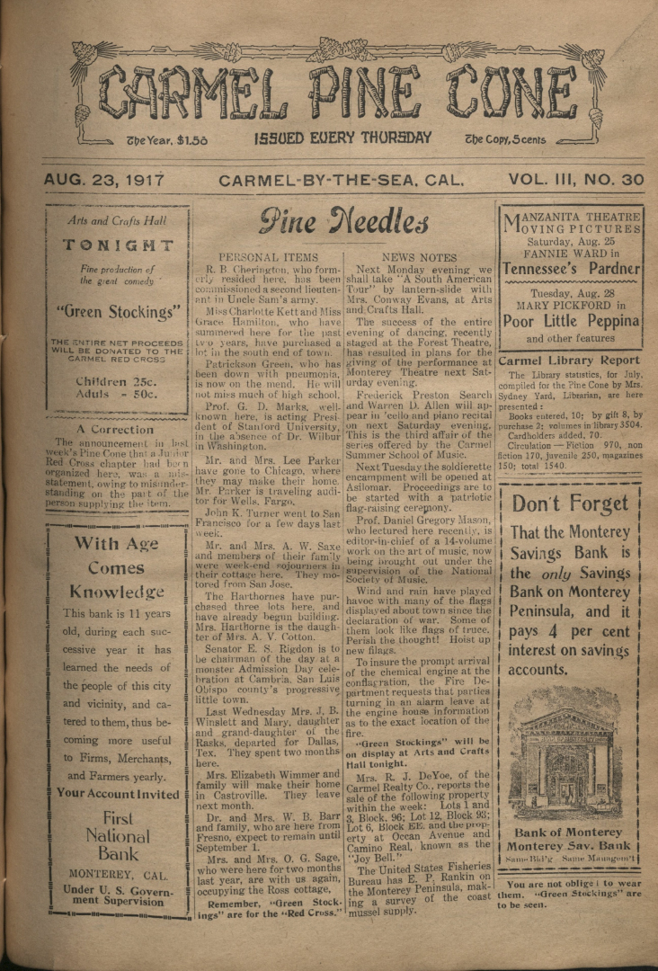 front page of the                 August 23, 1917, Carmel Pine Cone