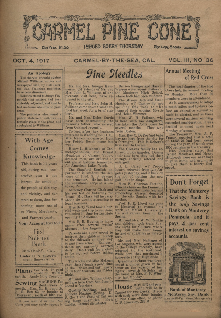 front page of the                 October 4, 1917, Carmel Pine Cone