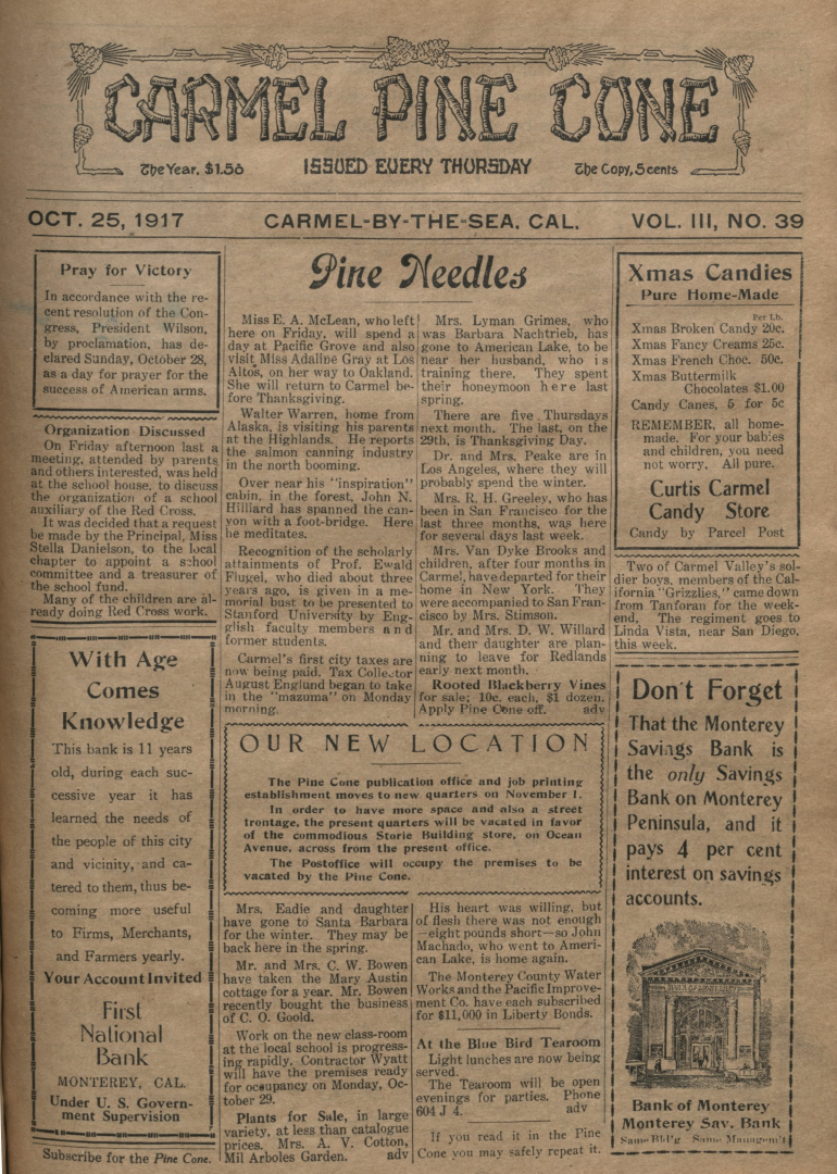 front page of the                 October 25, 1917, Carmel Pine Cone
