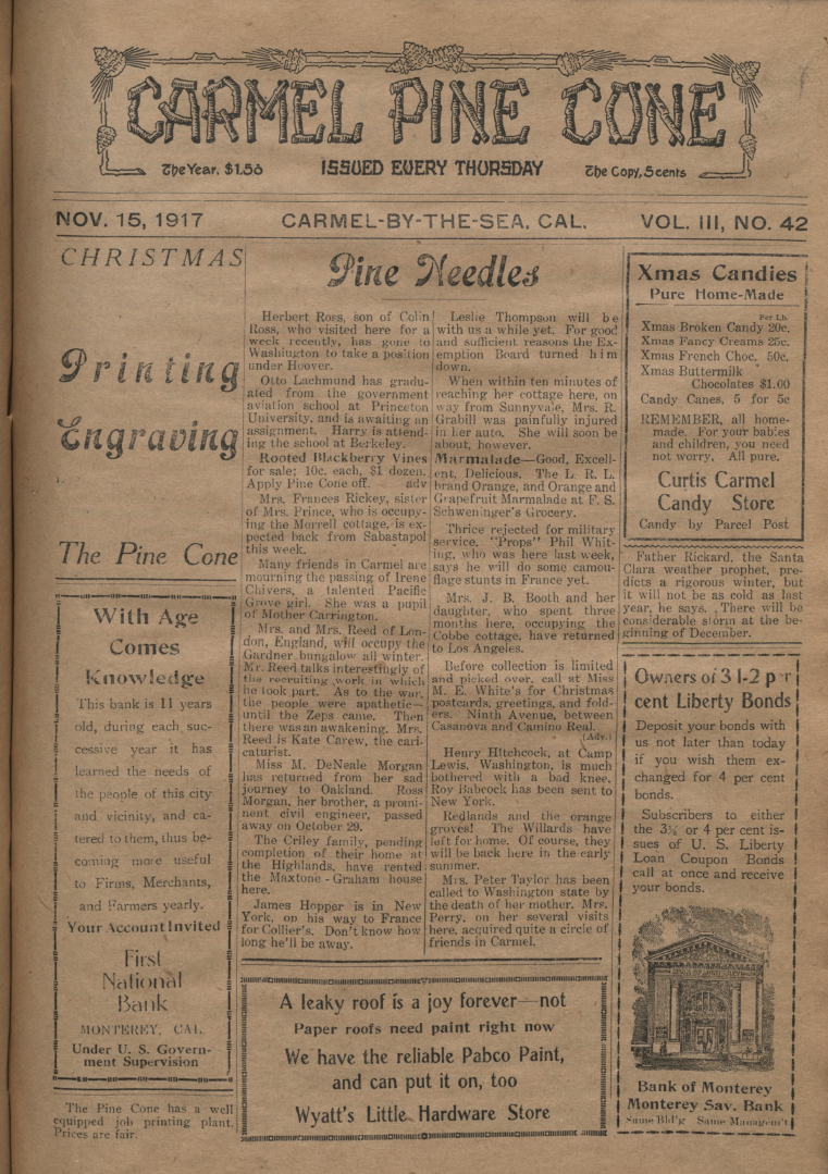 front page of the                 November 15, 1917, Carmel Pine Cone