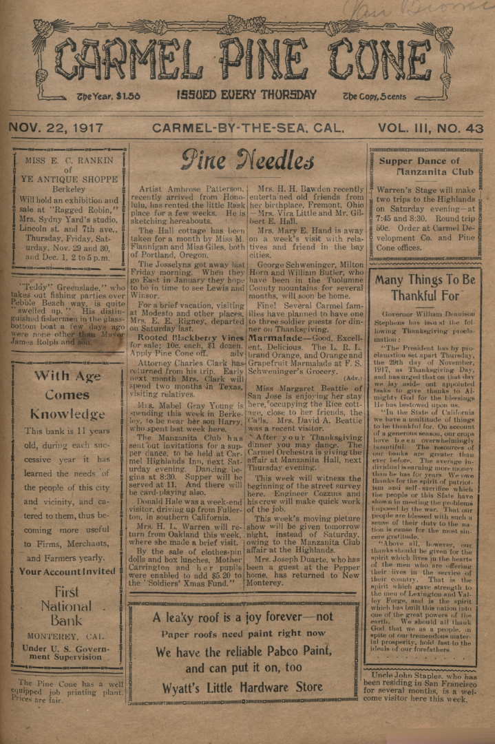 front page of the                 November 22, 1917, Carmel Pine Cone